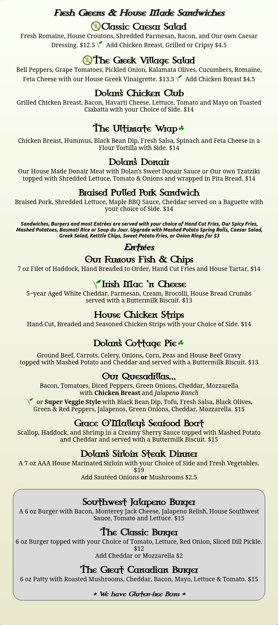 Dolan's Pub Menu 2020 - Page 2 (Greens and Sandwiches)